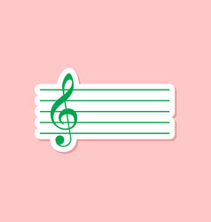 Paper sticker on stylish background treble clef vector