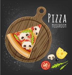 Pizza mushroom slice vector