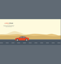 Red car driving on a road in the desert rental car vector