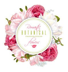 romantic flowers round banner vector image vector image