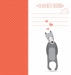 romantic greeting card with cute dogs and hearts vector image vector image