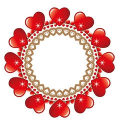 Round loveheart frame vector image