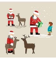 Santa Clauses set for christmas vector image