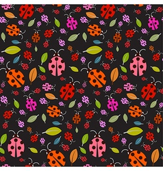 Seamless Pattern with Ladybirds and Leaves on vector image