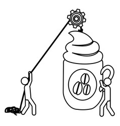 Silhouette workers with pulley holding big mug of vector