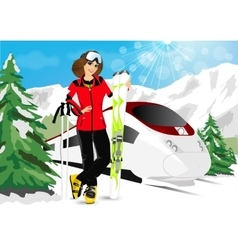 woman in mountain resort vector image vector image