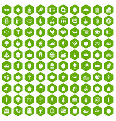 100 natural products icons hexagon green vector