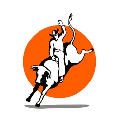 Rodeo Cowboy Bull Riding Retro vector image