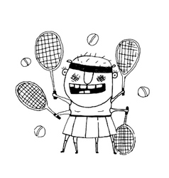 Funny freaky tennis player character monster vector