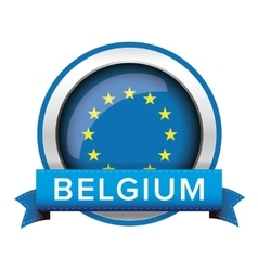 Eu flag button with belgium ribbon vector