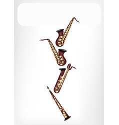 Different kind of saxophone with a white banner vector