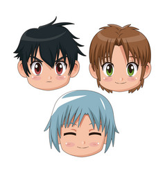 Set front view face cute anime tennagers several vector