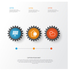 Eco icons set collection of sun power clear vector