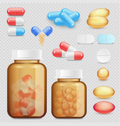 Realistic drugs and pills icon set vector