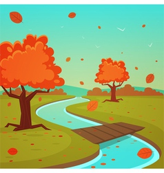 Cartoon autumn landscape vector