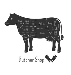British cuts of beef diagram and butchery design vector