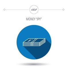 Cash icon yen money sign vector