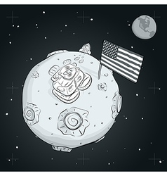 Astronaut whith flag usa on the moon bw vector