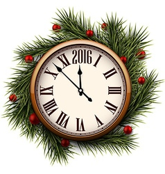 Happy 2016 year Vintage clock vector image