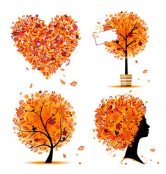 autumn tree frames vector image