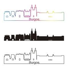 Burgos skyline linear style with rainbow vector image