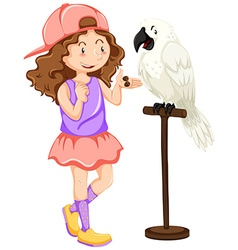 Girl with white parrot pet vector