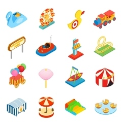Amusement park isometric 3d icons vector