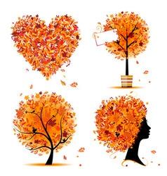 autumn tree frames vector image vector image