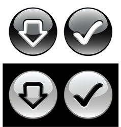 Black and white buttons vector image