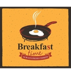 Breakfast time with a frying pan and fried eggs vector
