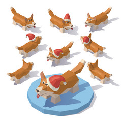 corgi in a christmas hat vector image