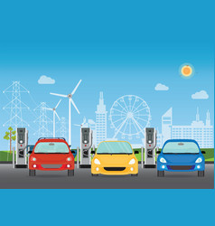 electric cars charging at the charger station vector image vector image