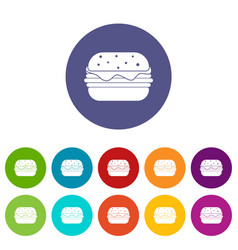 Empanada cheburek or calzone icons set flat vector