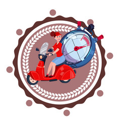 Fast delivery service logo woman courier riding vector