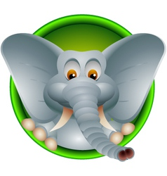 Funny head elephant isolated vector