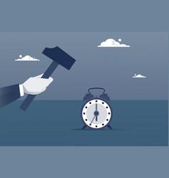 Hand hold hammer broking alarm clock time vector
