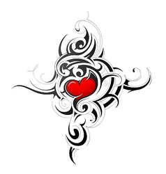 Heart shape in tribal style tattoo vector