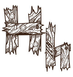 letter h from wooden planks alphabet picture for vector image vector image