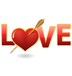 love and heart with arrow vector image