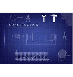 Machine-building drawings on a blue background vector