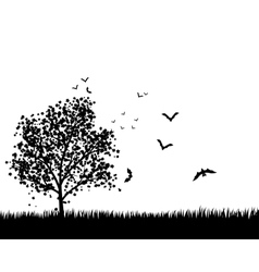 Maple Tree With Bats vector image vector image