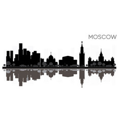 moscow city skyline black and white silhouette vector image