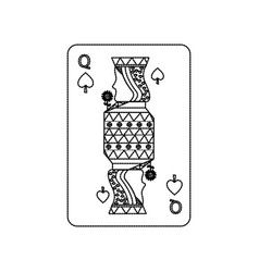queen of spades playing card casino poker vector image