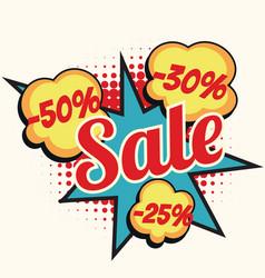 Sale 50 30 25 percent discount comic book word vector