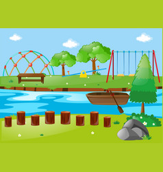scene with river and playground vector image vector image