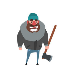 Strong woodcutter standing with axe in hand vector