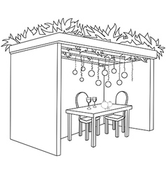 Sukkah For Sukkot With Table Coloring Page vector image vector image