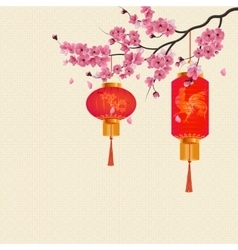 Two red chinese lanterns on a branch of cherry vector