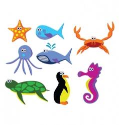 vector sea animals vector image vector image