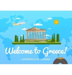 Welcome to greece poster with famous attraction vector